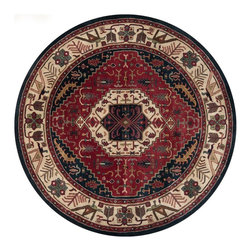 Surya - Surya Southwestern/Lodge Ancient Treasures Beige-Ruby  8'x8' Round Area Rug - The Ancient Treasures area rug Collection offers an affordable assortment of Southwestern/Lodge stylings. Ancient Treasures features a blend of natural Beige-Ruby  color. Hand Tufted of 100% Semi-Worsted New Zealand Wool the Ancient Treasures Collection is an intriguing compliment to any decor.