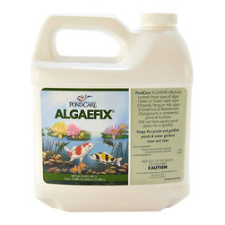 PONDCARE Algaefix Algae Control 64 oz 169D, Treats 19,200 U.S. Gallons - Effectively controls many types of green or green water algae, string or hair algae and blanketweed in ponds that contain live plants. Controls existing algae and helps resolve additional algae blooms. Keeps ornamental ponds and water gardens clean and clear.