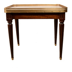 French Louis XVI Style Mahogany and Marble Top Coffee Table - The HighBoy, Lolo French Antiques et More