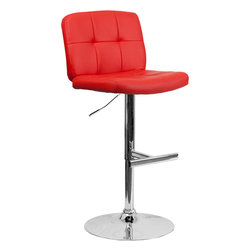 Flash Furniture - Contemporary Tufted Red Vinyl Adjustable Height Bar Stool with Chrome Base - With its tufted detailing, this adjustable height bar stool will make a lovely contemporary accent to your kitchen, dining, or bar area. The height adjustable swivel seat adjusts from counter to bar height with the handle located below the seat. The base and footrest have a chrome finish to complement the chair's modern design.