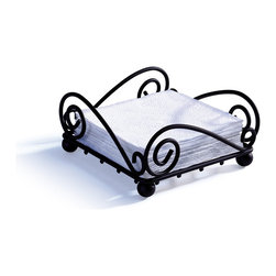 Spectrum Diversified Designs - Scroll Napkin Holder - Black - From the Scroll Collection, this napkin holder keeps napkins neat, stacked and contained. Made of sturdy steel and a black finish.
