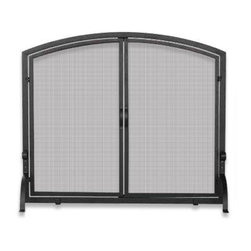 Blue Rhino - Uniflame Single Panel Iron Screen with Doors - You and yours will enjoy gathering around the hearth even more with this handsome iron screen. Its smart, single panel design features a sleek, smooth top and sturdy curved legs, ideal for your favorite contemporary setting.