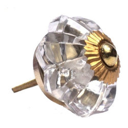 Glass Flower Knob, Clear - To have and to hold: You'll love that this clear glass flower knob marries well with just about any vintage style. And being ultra sturdy, you know it'll be dependable from this day forward.