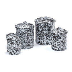 Crow Canyon Home - Canister Set, 4-Piece, White and Black Splatter - Store your flour, sugar, coffee beans, tea leaves, and cookies within reach in this enameled container set. The contrasting marbled surface adorns countertops in high style.