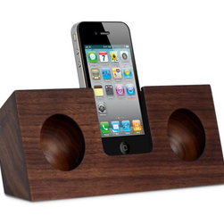 Walnut Original Ecofriendly iPhone Speaker - Look ma, no wires! Take your celebratory dance parties off the grid with this sleek solid wood acoustic amplifier for iPhones.