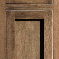 """Dura Supreme Cabinetry - Dura Supreme Cabinetry Homestead Panel Inset Cabinet Door Style - Dura Supreme Cabinetry """"Homestead Panel"""" inset cabinet door style in Quarter-Sawn Red Oak shown with Dura Supreme's """"Morel"""" gray stain finish."""