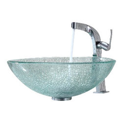 Kraus - Kraus Mosaic Glass Vessel Sink and Typhon Faucet Chrome - *Add a touch of elegance to your bathroom with a glass sink combo from Kraus