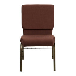Flash Furniture - Flash Furniture Hercules Series Church Chair in Brown - Flash Furniture - Guest Chairs - FDCH02185GV10355BASGG - This Hercules Series Church Chair will add elegance and class to any Church, Hotel, Banquet Room or Conference setting. This built to last chair has a 16-gauge steel frame that has been tested to hold 800 lbs. This church chair features double support bracing, ganging clamps, a cushion that graduates to a 4.25'' thick waterfall edge and plastic floor glides to protect non-carpeted floors. Our church chair is manufactured by one of the most reputable stack chair manufacturers in the industry, you can be assured of the quality of this chair offered to you. [FD-CH02185-GV-10355-BAS-GG]