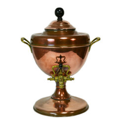 Lavish Shoestring - Consigned Copper Hot Water Dispencer/Samovar of Baluster Shape, English Victori - This is a vintage one-of-a-kind item.