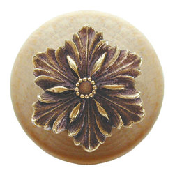 """Inviting Home - Opulent Flower Natural Wood Knob (clear finish with antique brass) - Opulent Flower Natural Wood Knob in clear finish with hand-cast antique brass insert; 1-1/2"""" diameter Product Specification: Made in the USA. Fine-art foundry hand-pours and hand finished hardware knobs and pulls using Old World methods. Lifetime guaranteed against flaws in craftsmanship. Exceptional clarity of details and depth of relief. All knobs and pulls are hand cast from solid fine pewter or solid bronze. The term antique refers to special methods of treating metal so there is contrast between relief and recessed areas. Knobs and Pulls are lacquered to protect the finish. Alternate finishes are available. Detailed Description: The Opulent Scroll pulls add an amazing focus to any drawers or cabinets - it will make them look regal and majestic. The absolute perfect place for these pulls to be used is in the dining room on your china closet. They are great pulls to use if you are trying to punch up an antique piece of furniture or cabinet. You should consider using the Opulent Scroll pulls in combination with the Opulent Flower knobs or wood knobs with flower."""