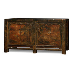 "China Furniture and Arts - Elmwood 4-Door Mongolian Cabinet - Sporting a weathered and worn look, this unique cabinet's doors display a faded hand-painted scenery framed by an elegant carved molding at the top and sides, adding to its rustic charm. Two spacious double-door compartments measuring 33.5""W x 14""D x 27""H each provides ample storage space and contain a removable shelf for your convenience. Perfect as a sideboard in the dining room or media cabinet in the living room . Fully assembled."