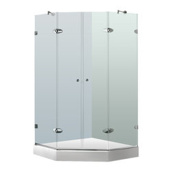 "VIGO Industries - VIGO 45 5/8 x 45 5/8 Frameless Neo-Angle 3/8"" Shower, With Base - The VIGO Frameless Neo-angle Clear/Chrome Shower Enclosure with Base will be a bold and impressive addition to any bathroom."