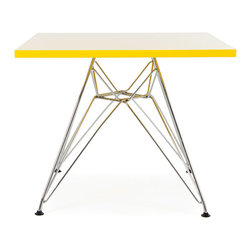 """Vertigo Interiors - Eames Style Kids Dining Play Table - Metal DSR Eiffel Leg, Square Top, Yellow - Both stylish and decorative, this table can be used in a playroom, at school, in a nursery, or as a children's dining table.  The tabletop is constructed of high quality ABS plastic with a chrome """"Eiffel"""" base."""