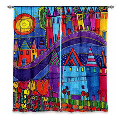 """DiaNoche Designs - Window Curtains Lined by Dora Ficher Purple Mountain - DiaNoche Designs works with artists from around the world to print their stunning works to many unique home decor items.  Purchasing window curtains just got easier and better! Create a designer look to any of your living spaces with our decorative and unique """"Lined Window Curtains."""" Perfect for the living room, dining room or bedroom, these artistic curtains are an easy and inexpensive way to add color and style when decorating your home.  This is a woven poly material that filters outside light and creates a privacy barrier.  Each package includes two easy-to-hang, 3 inch diameter pole-pocket curtain panels.  The width listed is the total measurement of the two panels.  Curtain rod sold separately. Easy care, machine wash cold, tumble dry low, iron low if needed.  Printed in the USA."""