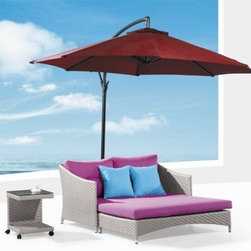 Lola Patio Chaise Lounge w/ Umbrella - This stunning Lola Patio Chaise Lounge has an extra wide frame and the set includes the umbrella and coffee table!
