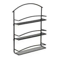 Spectrum Diversified Designs - Euro Wall Mount Spice Rack, Black - Store all of your spices in one place with the 3-Tier Euro Wall Mount Spice Rack. Made of sturdy steel, its clean design will add a contemporary touch to your home.