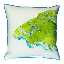 Betsy Drake - Betsy Drake Green Fish Pillow- Indoor/Outdoor - Green Fish Pillow- Large indoor/outdoor pillow. These versatile pillows are equal at enhancing your homes seaside decor and adding coastal charm to an outdoor setting arrangment. They feature printed outdoor, fade resistant fabric for years of wear and enjoyment. Solid back, polyfill. Proudly made in the USA.