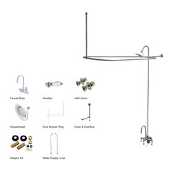 Kingston Brass - Clawfoot Tub Package with High Rise Goose Neck - This clawfoot tub package includes faucet with high rise goose neck, hand shower and cradle, shower riser and shower head, curtain rod, chain plug drain and overflow, and supply lines all constructed of high quality brass to ensure reliability and durability. The premier finish resists tarnishing and corrosion. All mounting hardware is included and standard US plumbing connections are used.