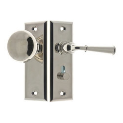 "Idh By St. Simons Knob To Lever Screen Door Latch - Idh By St. Simons Knob To Lever Screen Door Latch: This sturdy solid brass latch set is desined for use on doors from 7/8"" to 1 5/8"" thick with a 1 3/4"" backset. Special locking mechanism may be used on either the lever or knob side of the door. Plates measure 1 1/4"" L wide by 4 1/2"" H. Set requires 1 7/8"" clearance from inside door. Mounting hardware and matching strike plate are included."