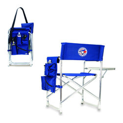 """Picnic Time - Toronto Blue Jays Sports Chair in Navy - The Sports Chair by Picnic Time is the ultimate spectator chair! It's a lightweight, portable folding chair with a sturdy aluminum frame that has an adjustable shoulder strap for easy carrying. If you prefer not to use the shoulder strap, the chair also has two sturdy webbing handles that come into view when the chair is folded. The extra-wide seat (19.5"""") is made of durable 600D polyester with padding for extra comfort. The armrests are also padded for optimal comfort. On the side of the chair is a 600D polyester accessories panel that includes a variety of pockets to hold such items as your cell phone, sunglasses, magazines, or a scorekeeper's pad. It also includes an insulated bottled beverage pouch and a zippered security pocket to keep valuables out of plain view. A convenient side table folds out to hold food or drinks (up to 10 lbs.). Maximum weight capacity for the chair is 300 lbs. The Sports Chair makes a perfect gift for those who enjoy spectator sports, RVing, and camping.; Decoration: Digital Print"""