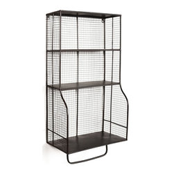 Linon Home Decor - Linon Home Decor Distressed Wall Storage Organizer X-1WFLEHSEMMA - Add stylish storage to a bathroom, kitchen, office or entry with the Distressed Wall Storage Organizer. The rustic distressed grid style metal will easily complement any decor style. Three shelves provide ample space for storing and displaying a variety of items. A bottom bar is perfect for hanging towels. A versatile storage addition for any area.