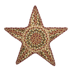 Earth Rugs - C-324 Olive/Burgundy/Gray Star Shaped Trivet 19in.x19in. - Olive/Burgundy/Gray Star Shaped Trivet 19 in. x19 in.