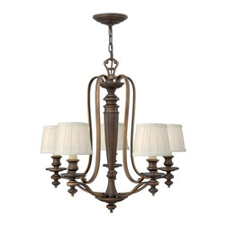 Hinkley Lighting - Dunhill 5-Light Chandelier - Measures: 27 1/4 in. Dia. x 26 in. H Comes in Royal Bronze Finish with Off-White Pleated Fabric Shades. Requires 5-60w Candelabra Based Bulbs.