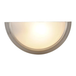 AF Lighting - AF Lighting Lunar Bay Brushed Nickel Single Light Decorative Wall Scone Fixture - AF Lighting Lunar Bay Collection Single Light Wall Sconce in Brushed Nickel with Alabaster Glass Shade