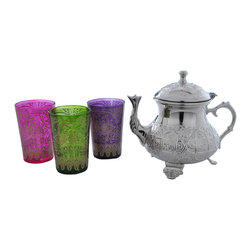 """Divine Designs - Multicolored Nickle plated Moroccan Tea Set - """"This stunning Moroccan Tea Set offer a new and unique experience to dining. The vibrant colors and distinguishing designs are stylish and will most certainly impress any house guest while entertaining."""