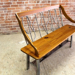 Custom Fabricated Steel Frame Bench - http:www.ecustomfinishes.com