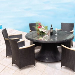 Royal Teak 60 in. Helena Full Weave Patio Dining Set - Seats 6 - Dine in alfresco style all year round with the Royal Teak 60 in. Helena Full Weave Patio Dining Set - Seats 6. Crafted from premium-grade teak wood, this charming patio dining set blends clean lines with classic minimalism that graces any deck, garden or poolside area with timeless style. Teak wood boasts a high oil content that makes it naturally resistant to water and UV damage, providing a low-maintenance set that, over time, inherits an eye-catching silver shimmer.Each piece is crafted with durable mortise and tenon joinery to ensure a lifetime of adorning your home. Choose from a variety of finishes for the patio conversation set that best complements your home.About TeakTeak wood is universally recognized for its quality, durability, and beauty. Teak is a very hard, densely grained wood with high oil content. The unique combination of these characteristics makes teak naturally resistant to moisture, rot, warping, shrinking, splintering, insects, and fungus. It is considered the ideal wood for outdoor furniture. If left untreated, teak weathers naturally to a beautiful silver gray color. The weathering process will change the color, but the grain will still be smooth. There will be no splitting or splintering. You may treat each piece of your set with teak oil if you wish to retain the original wood color.