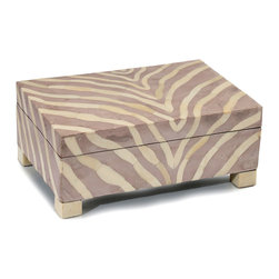 Lavender Araldite and Cream Bone Box - Lilac-colored resin and the quiet ivory warmth of natural bone give a softer air to the boldness of zebra stripes, and as the animal print cascades over the sides of the Lavender Araldite and Cream Bone Box, the subtle winsomeness of this pale accent is epitomized in their soft flow.  Store treasures in muted yet noticeable style with this box's unconventional grace.