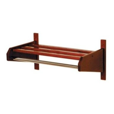 Wooden Mallet - Wall Mount Hanging Coat and Hat Rack w Chrome - Finish: Large Dark Red MahoganyKeep coats, hats, sweaters and scarves easily organized at home or at the office with this stylish wall mount coat and hat rack, featuring a slatted top shelf for storage and a chrome bar to hold multiple coat hangers. The rack is made or oak and is available in your choice of finishes, ensuring you'll find the right shade to suit your space. Sturdy 1 in. x 2 in. oak hat rack bars are mortised into the sides and locked in place with screws. Color matched wood plugs are included to cover wall mounting screws. Perfectly compliment Wooden Mallet's Dakota Wave furniture collections. With a standard 1 in. or optional 0.63 in. diameter chrome steel hanger bar. Pictured in Dark Red Mahogany. Minimal assembly required. Maximum weight: 50 lbs.. Small: 15.5 in. D x 25.75 in. W x 11.5 in. H (8 lbs.) - 24 in. W Mounting. Medium: 15.5 in. D x 33.75 in. W x 11.5 in H (9 lbs.) - 32 in. W Mounting. Large: 15.5in. D x 37.75 in. W x 11.5 in. H (9 lbs.) - 36 in. W MountingWooden Mallets popular coat & hat racks are made of solid oak, not veneer or wood grain vinyl coverings. Available in 2 designer colors to coordinate with any decor.