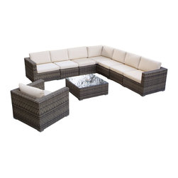 Great Deal Furniture - Sydney 9-Piece Sectional Sofa Set - The Sydney 9-Piece Sectional Sofa Set allows you to arrange and rearrange your outdoor seating area with ease. Made of sturdy rust-proof aluminum frame, woven with element-resistant PE Wicker, and equipped with weather-resistant cushions, you can enjoy your set in any outdoor space. Make the Sydney your favorite spot to enjoy time with friends and family outdoors.
