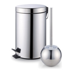 Cook N Home - Cook N Home Stainless Steel Step Trash Bin Toilet Brush Set - The Cook N Home trash bin with step and toilet brush set features a stainless steel surface that is easy to wipe clean. The trash bin in this set offers a removable inner bucket, and a 7-liter capacity.