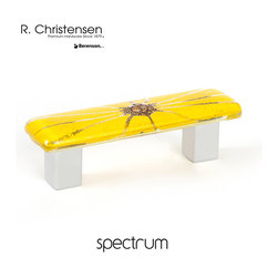 9644-1000-C Yellow Glass Cabinet Pull by R.Christensen - 64mm center to center modern glass cabinet pull in Yellow.