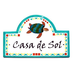Turtle House Plaque - To find out more and how to order click here: http://www.classyplaques.com/mexican-sea-turtle-address-plaques/