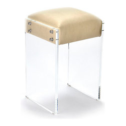 Acrylic Counter Stool - Suspended between panes of clear acrylic, the sand-colored seat of the Acrylic Counter Stool provides a casual perch for dining and talking while keeping your look light, clear, and minimal. Excellent for balancing more ornate, focal furniture or for enhancing the brightness of an open-plan space, this useful stool is a versatile seating piece with a current aesthetic.