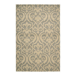 """Nourison - Nourison Riviera RI04 (Slate) 2'3"""" x 8' Rug - Velvety soft fields of pure wool, with graphic Damask, scroll and skin designs highlighted by Nourison's signature Luxcelle(tm) fibers that accent intricate details with a light reflecting sheen."""