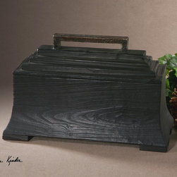 "Uttermost - Carino Wooden Black Box - Black Satin Finish On Knotty, Deep-grained Fir Wood With Copper-brown Metal Accents. Removable Lid. Uttermost's Accessories Combine Premium Quality Materials With Unique High-style Design. Overall Dimensions: 11.75""D x 18""W x 8.25""H"