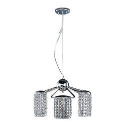 ET2 Lighting - ET2 Lighting Tartan 3-Light Pendant - E20567-20PC - Tartan collection's squares of clear beveled Crystal draped over frames of Polished Chrome form a creative lighting design for any home. This unique look has a contemporary appeal yet would also fit into transition settings. Ample light from high powered xenon lamps add function to beauty.