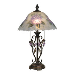 Dale Tiffany - Dale Tiffany TT10796 Hand Painted Floral 2 Light Table Lamps - Hand Painted Purple Flower Table Lamp