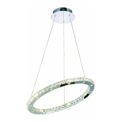 """PWG Lighting / Lighting By Pecaso - Frederique 24-Light 24"""" Crystal Chandelier 1756D24C-RC - Elements of light in circles, swirls or rectangles encapsulate our Frederique Collection. Featuring LED lamps, these impressive Crystal Chandeliers will glimmer in any setting."""