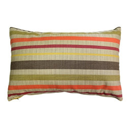 Pillow Decor - Pillow Decor - Sunbrella Solano Fiesta 12 x 20 Outdoor Pillow - Soft stripes in orange, red, yellow, brown and tan, combine to create this warm and inviting throw pillow. This is a great pillow for tying in soft wood and earth tones, whether they be inside your home or outside on a sun drenched deck or garden patio.