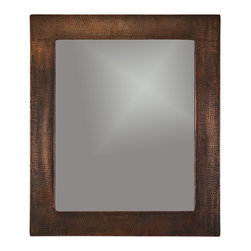 "Premier Copper Products - 36"" Hand Hammered Rectangle Copper Mirror - Uncompromising quality, beauty, and functionality make up this Hand Hammered Copper Rectangle Mirror Frame.  Our hand made copper mirrors complement a wide variety of styles and colors."