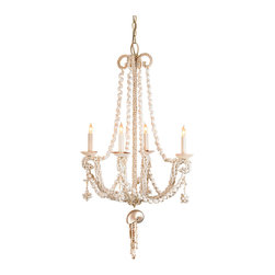 Kathy Kuo Home - Glouster Formal Shell 4 Light Chandelier - Venus rose from the sea, and so did the magnificent style of this nautical shell chandelier.  Crafted magnificently shell by shell, this nautical lighting beauty would be right at home in beach homes or in sophisticated spaces where imagination rules.