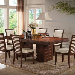 5 PC Pacifica Dining Set in Cherry (Table and 4 Side Chairs) - Enhance your dining room decor with this clean, transitional 5 PC Pacifica Dining Set in Cherry, which reflects both style and comfort. The elegant dining table features double pedestal-ribbed base with 3'' thick-staked top, and carefully selected cherry veneer throughout the set. The beautiful beige upholstered side chairs reflect ladder-back design and high back. Add some chic and sophistication to your dining space with this sleek and elegant set.