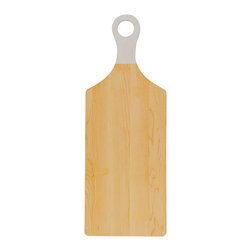 Cutting Board 1.2 - Cutting board 1.2 from Objets M̩caniques is made of maple or yellow birch with a layer of white milk paint covering the handle. Rustic, yet modern, the simplicity of this board will blend in to any kitchen setting. The ring of the handle also allows you to easily display the board on your kitchen wall.