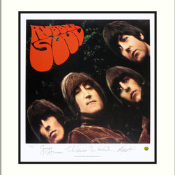 "Amanti Art - The Beatles: Rubber Soul (Album Cover) Framed Print - If ""Norwegian Wood"" and ""Nowhere Man"" are among your favorite Beatles' songs, this album cover belongs in your art collection. A beautifully matted and framed, limited edition print of the Fab Four's iconic 1965 LP, it bears the stamped signature of each band member."