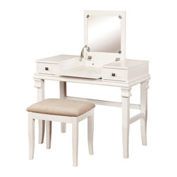 Linon - Linon Angela White 2-piece Vanity Set - Keep your personal grooming items safely stored and organized with this Linon Angela 2-piece white vanity set. Two storage drawers provide space for small items,such as jewelry and makeup,while the mirror folds flat to give you a large workspace.